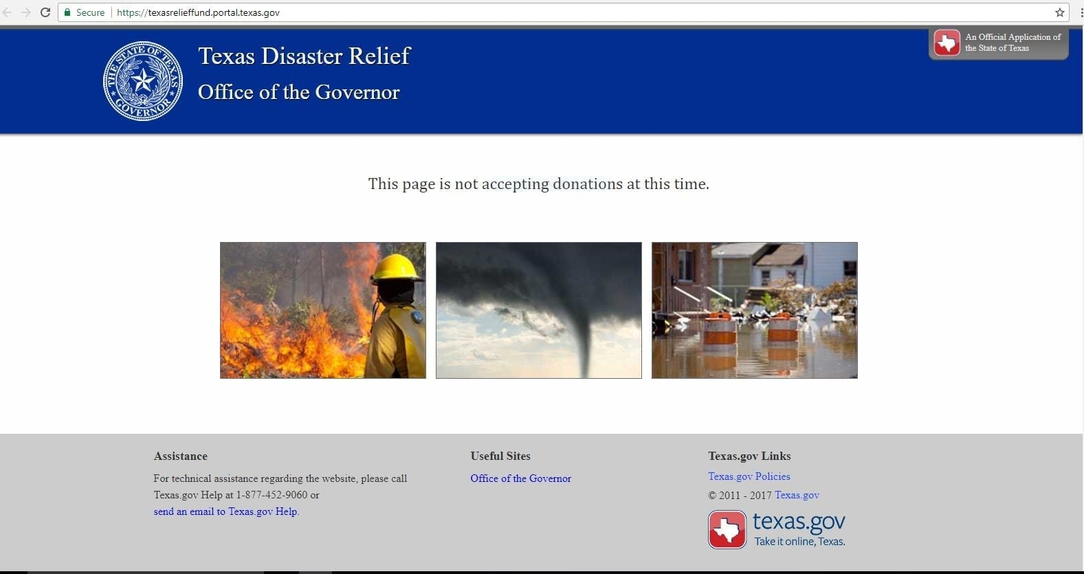 Texas Disaster Relief website