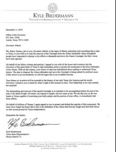 State Representative Kyle Biedermann's letter to Governor Greg Abbott.