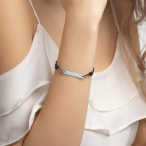 TEXIAN Engraved Silver Bar String Bracelet